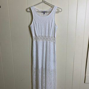 BAILEY BLUE Maxi Crochet Knit Dress White Medium